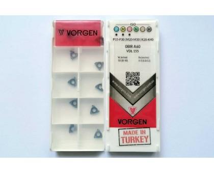 Твердосплавная пластина резьбовая 08IR A60 VDL155 для внутренней резьбы VORGEN