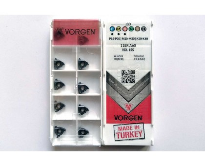 Твердосплавная пластина резьбовая 11ER A60 VDL155 для наружной резьбы VORGEN