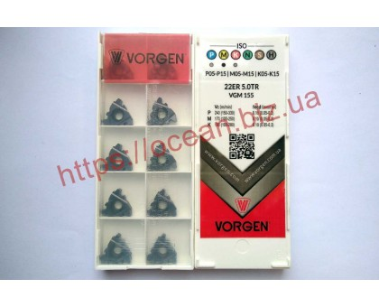 Твердосплавная пластина резьбовая 22ER 5.0TR VGM155 для наружной резьбы VORGEN