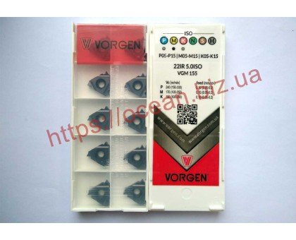 Твердосплавная пластина резьбовая 22IR 5.0ISO VGM155 для внутренней резьбы VORGEN