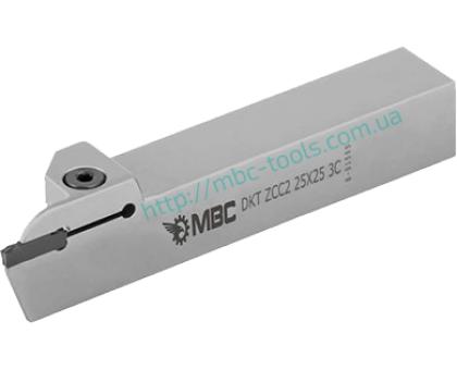Резец токарный канавочный отрезной DKT-ZCC 25x25 3C L для наружных канавок под пластину ZT.D 03.. (ZCC-CT) державка MBC