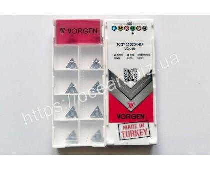 Твердосплавная пластина токарная по алюминию TCGT 110204-KF VGK10 VORGEN